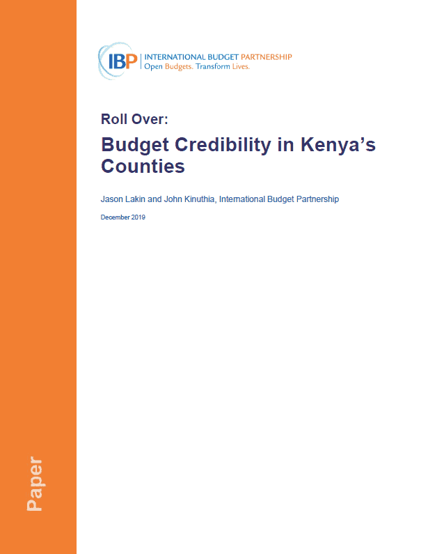 Roll Over: Budget Credibility in Kenya's Counties
