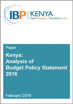 Kenya Budget Policy Review Statement 2016