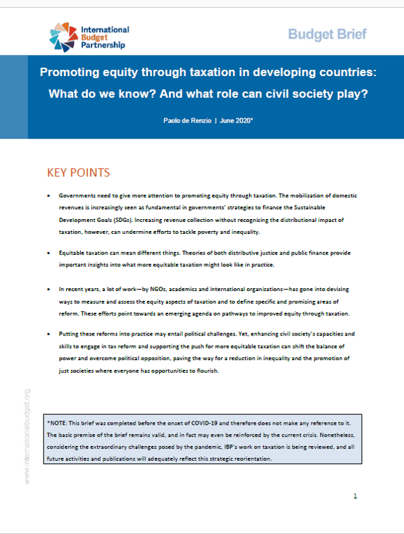 Promoting equity through taxation in developing countries: What do we know? And what role can civil society play?