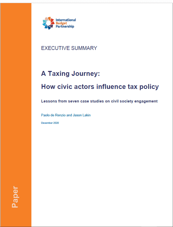 Executive Summary – A Taxing Journey: How civic actors influence tax policy
