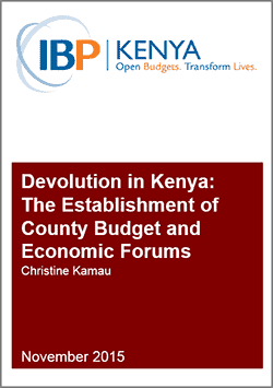 Devolution in Kenya: The Establishment of County Budget and Economic Forums