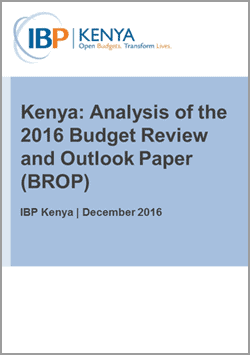 IBP Kenya Analysis of Budget Review and Outlook Paper