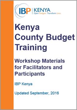 kenya county budget training