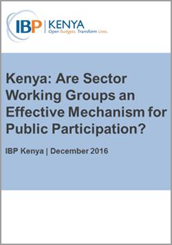 Kenya National Budget Sector Working Groups