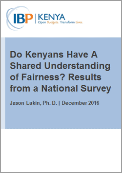 Do Kenyans Have A Shared Understanding of Fairness? Results From A National Survey