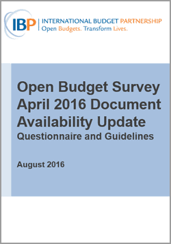 Open Budget Survey April 2016 Document Availability Update: Questionnaire and Guidelines