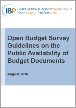 Open Budget Survey Guidelines on the Public Availability of Budget Documents