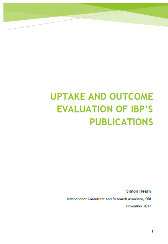 Uptake and Outcome Evaluation of IBP's Publications