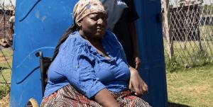Close up of informal settlement resident